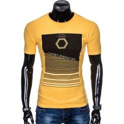 T-SHIRT MĘSKI Z NADRUKIEM S879 - ŻÓŁTY. Żółte t-shirty męskie z nadrukiem Ombre Clothing, m. Za 29,00 zł.