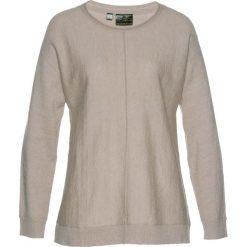 Sweter z domieszką kaszmiru bonprix kamienisty melanż. Szare swetry klasyczne damskie bonprix, z dzianiny, z okrągłym kołnierzem. Za 69,99 zł.