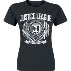 Justice League United Koszulka damska czarny. Czarne bluzki asymetryczne Justice League, s, z motywem z bajki, z okrągłym kołnierzem. Za 32,90 zł.