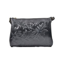 Torebki klasyczne damskie: Skórzana torebka w kolorze czarnym - (S)24 x (W)18 x (G)2 cm