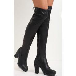 Czarne Kozaki More Strength. Czarne buty zimowe damskie marki Kazar, ze skóry, przed kolano, na wysokim obcasie, na obcasie. Za 159,99 zł.