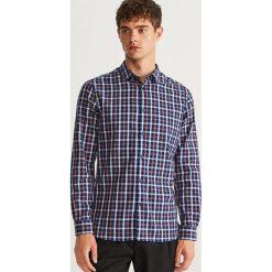 Koszula w kratę slim fit - Niebieski. Białe koszule męskie slim marki Reserved, l. Za 119,99 zł.