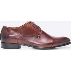 Domeno - Półbuty. Brązowe buty wizytowe męskie Domeno, z materiału, na sznurówki. W wyprzedaży za 299,90 zł.