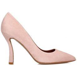 Buty ślubne damskie: Skórzane czółenka w kolorze różowym