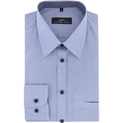 Koszula MARCO 16-04-07-K. Niebieskie koszule męskie na spinki marki bonprix, m, z nadrukiem, z klasycznym kołnierzykiem, z długim rękawem. Za 169,00 zł.