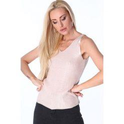 Bluzki damskie: Bluzka na ramiączka metalizowana jasnoróżowa 3700