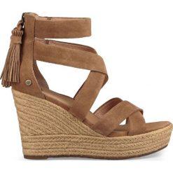 Rzymianki damskie: Skórzane sandały na koturnie Raquel