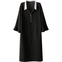 Długie sukienki: Sukienka z nadrukiem groszki zapinana z przodu na zamek błyskawiczny