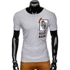 T-SHIRT MĘSKI Z NADRUKIEM S984 - SZARY. Szare t-shirty męskie z nadrukiem marki Lacoste, z gumy, na sznurówki, thinsulate. Za 29,00 zł.
