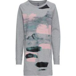 Długa bluza dresowa bonprix jasnoszary melanż z nadrukiem. Szare bluzy rozpinane damskie bonprix, melanż, z dresówki, z długim rękawem, długie. Za 99,99 zł.