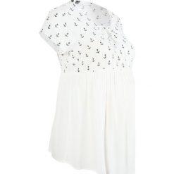 Bluzka ciążowa bonprix biel wełny. Niebieskie bluzki ciążowe marki bonprix, z materiału, z dekoltem w serek. Za 99,99 zł.