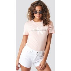 T-shirty damskie: Calvin Klein T-shirt Monogram Logo Regular Fit - Pink