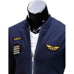 BLUZA MĘSKA ROZPINANA BEZ KAPTURA B676 - GRANATOWA. Niebieskie bluzy męskie rozpinane marki Ombre Clothing, m, bez kaptura. Za 69,00 zł.
