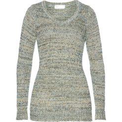 Swetry damskie: Długi sweter bonprix pastelowy miętowy - czarno-złoty