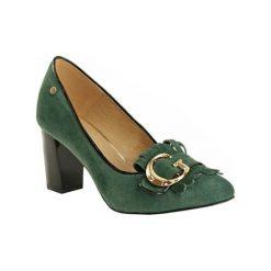 Buty ślubne damskie: Skórzane czółenka w kolorze zielonym
