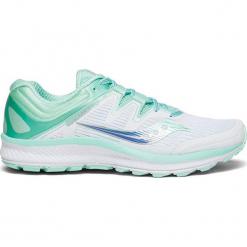"""Buty sportowe """"Guide Iso"""" w kolorze biało-turkusowym. Białe buty sportowe damskie Saucony, z materiału. W wyprzedaży za 309,95 zł."""