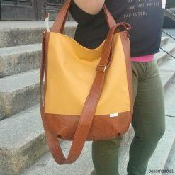 Miodowa torba listonoszka, listonoszka worek xxl. Pomarańczowe shopper bag damskie Pakamera, do ręki. Za 116,00 zł.