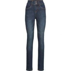 """Dżinsy """"komfort-stretch"""", z wysoką talią SLIM bonprix ciemnoniebieski. Niebieskie jeansy damskie slim marki Sinsay, z podwyższonym stanem. Za 89,99 zł."""