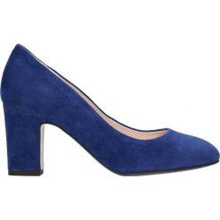 Czółenka LENA. Niebieskie buty ślubne damskie Gino Rossi, ze lnu, na wysokim obcasie, na słupku. Za 199,90 zł.