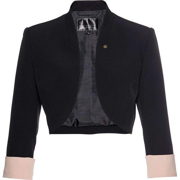ea20858d3947 Bolerko Premium z rękawami 3 4 bonprix czarno-matowy beżowy - Czarne ...