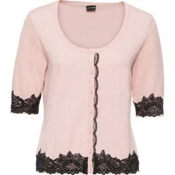 Swetry rozpinane damskie: Sweter rozpinany z koronką bonprix różowy