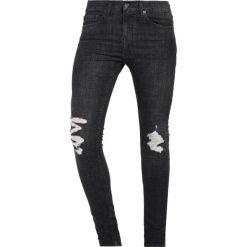 Topman COHEN SPRAY ON WITH RIPS Jeans Skinny Fit black. Czarne jeansy męskie Topman. W wyprzedaży za 183,20 zł.
