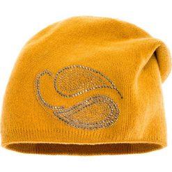 Czapki zimowe damskie: Musztardowa czapka z cyrkoniami QUIOSQUE