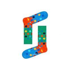 Skarpetki Happy Socks - Big Dot Block (BDB01-7000). Szare skarpetki męskie Happy Socks, w kolorowe wzory, z bawełny. Za 34,90 zł.