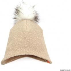 Czapka zimowa z pomponem - beżowy. Brązowe czapeczki niemowlęce marki Pakamera, na zimę, z polaru. Za 79,00 zł.