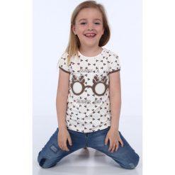 T-shirty dziewczęce: Bluzka dziewczęca we wzory kremowa NDZ8197