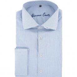 Koszula RICCARDO 15-11-24. Niebieskie koszule męskie na spinki marki Giacomo Conti, m, w kratkę, z bawełny, z włoskim kołnierzykiem, z długim rękawem. Za 169,00 zł.