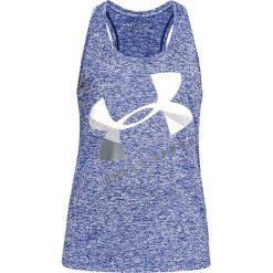 Top w kolorze fioletowo-białym. Białe topy sportowe damskie marki Under Armour, xs, z materiału. W wyprzedaży za 64,95 zł.