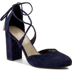 Półbuty KOTYL - 5899 Granat Zamsz. Niebieskie creepersy damskie Kotyl, z materiału, eleganckie, na obcasie. W wyprzedaży za 199,00 zł.