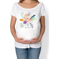 Bluzki ciążowe: koszulka damska, ciążowa. kwiaty i ptaki