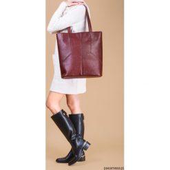 CARMEN - duża torba skórzana - burgund. Czerwone torebki klasyczne damskie Pakamera, ze skóry, duże. Za 719,00 zł.