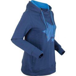 Bluza bawełniana z kapturem i nadrukiem w gwiazdy, długi rękaw bonprix kobaltowy. Niebieskie bluzy rozpinane damskie bonprix, z nadrukiem, z bawełny, z długim rękawem, długie, z kapturem. Za 99,99 zł.