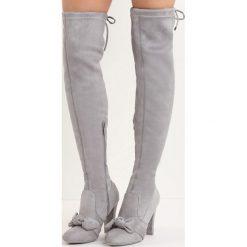 Szare Kozaki Be Like Minnie. Szare buty zimowe damskie marki Born2be, z okrągłym noskiem, na wysokim obcasie, na słupku. Za 99,99 zł.