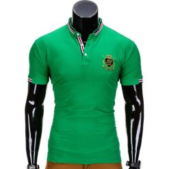 KOSZULKA MĘSKA POLO Z NADRUKIEM S849 - ZIELONY. Zielone koszulki polo Ombre Clothing, m, z aplikacjami. Za 29,00 zł.