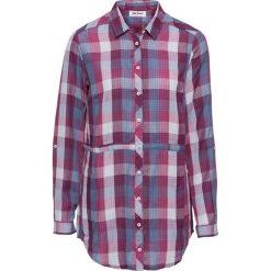Bluzki damskie: Długa bluzka z wiązanym paskiem, długi rękaw bonprix jeżynowo-niebieski matowy w kratę