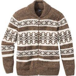 Sweter rozpinany norweski z domieszką wełny Regular Fit bonprix ciemnobrązowo-beżowy wzorzysty. Brązowe kardigany męskie marki bonprix, m, z wełny. Za 59,99 zł.