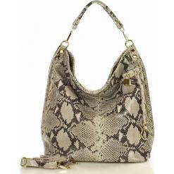 Skóra naturalna torebka worek Isabella MAZZINI wężowa. Szare torebki worki marki MAZZINI, w paski, ze skóry. Za 279,90 zł.