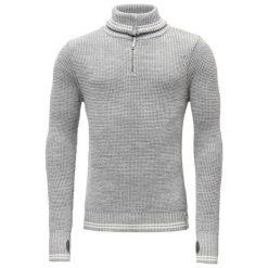 Devold Sweter Randers Zip Neck Grey Mel./Offwhite L. Szare swetry klasyczne męskie Devold, l, z dzianiny, z klasycznym kołnierzykiem. Za 495,00 zł.