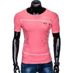 T-SHIRT MĘSKI Z NADRUKIEM S954 - RÓŻOWY. Czerwone t-shirty męskie z nadrukiem marki Ombre Clothing, m. Za 29,00 zł.