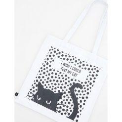 Torebki klasyczne damskie: Bawełniana torba z kotem – Biały