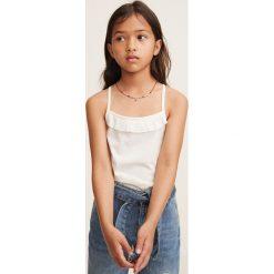 Mango Kids - Top dziecięcy Mariana 110-164 cm. Szare bluzki dziewczęce Mango Kids, m, z bawełny, z dekoltem halter. Za 29,90 zł.