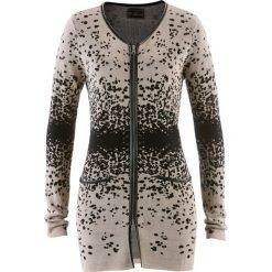 Długi sweter rozpinany z dzianiny żakardowej bonprix kamienisto-czarny wzorzysty. Szare kardigany damskie bonprix, z dzianiny. Za 99,99 zł.