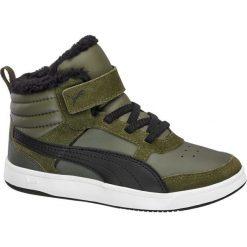 Buty dziecięce Puma Rebound Puma oliwkowe. Zielone buciki niemowlęce chłopięce Puma, z gumy, na sznurówki. Za 179,90 zł.