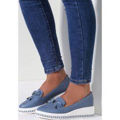 Mokasyny damskie: Niebieskie Mokasyny Fedrico