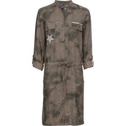 """Sukienka koszulowa bonprix ciemnooliwkowy """"used"""". Zielone sukienki na komunię marki bonprix, z koszulowym kołnierzykiem, koszulowe. Za 89,99 zł."""