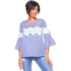 """Bluzki asymetryczne: Koszulka """"Yona"""" w kolorze niebiesko-białym"""